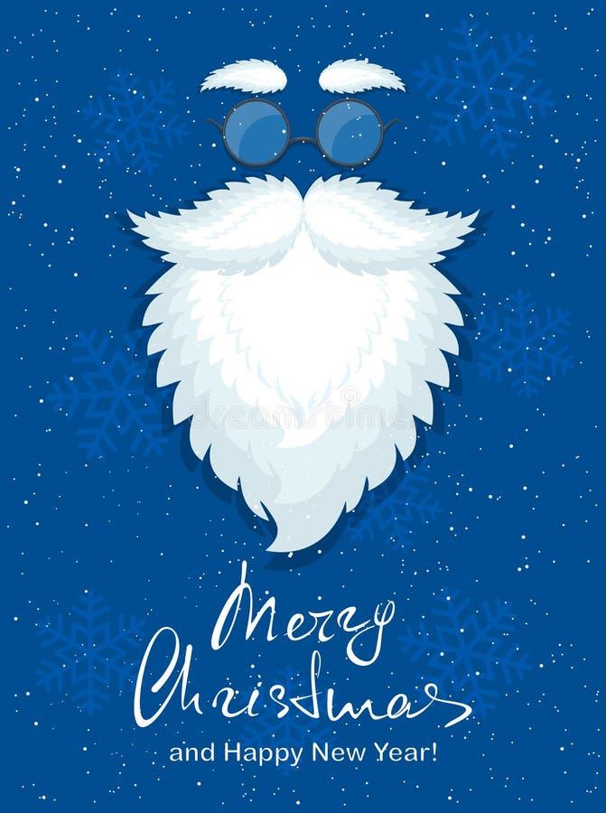 Blauer Weihnachtshintergrund mit Schneeflocken und Sankt trotzen mit g lizenzfreie abbildung