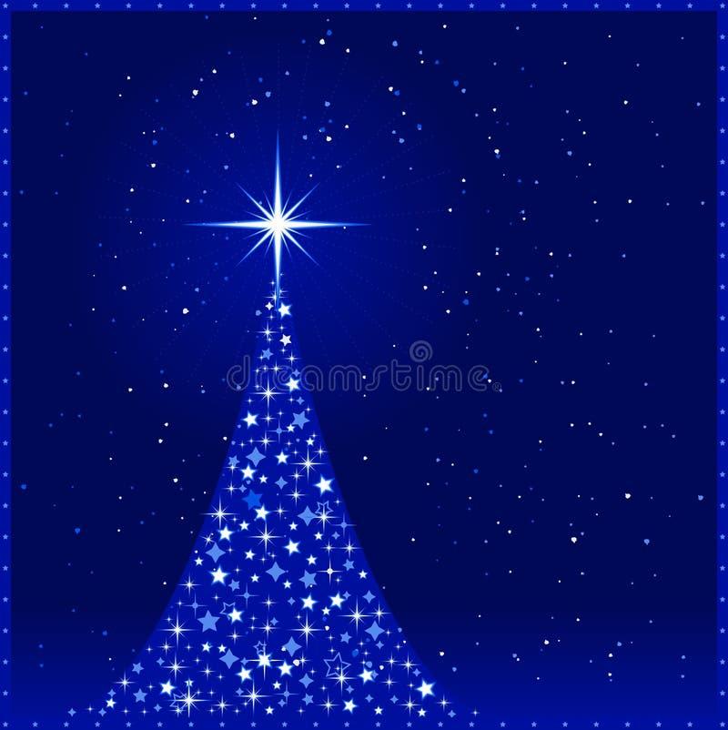 Blauer Weihnachtshintergrund mit Weihnachten tr vektor abbildung