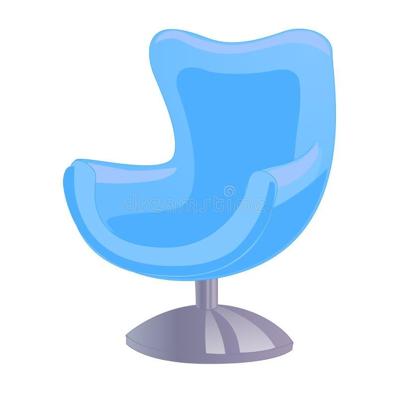Blauer Weinleselehnsessel lokalisiert auf weißem Hintergrund Photorealistic Ausschnittskizze stock abbildung