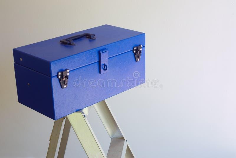 Blauer Werkzeugkasten stockbild