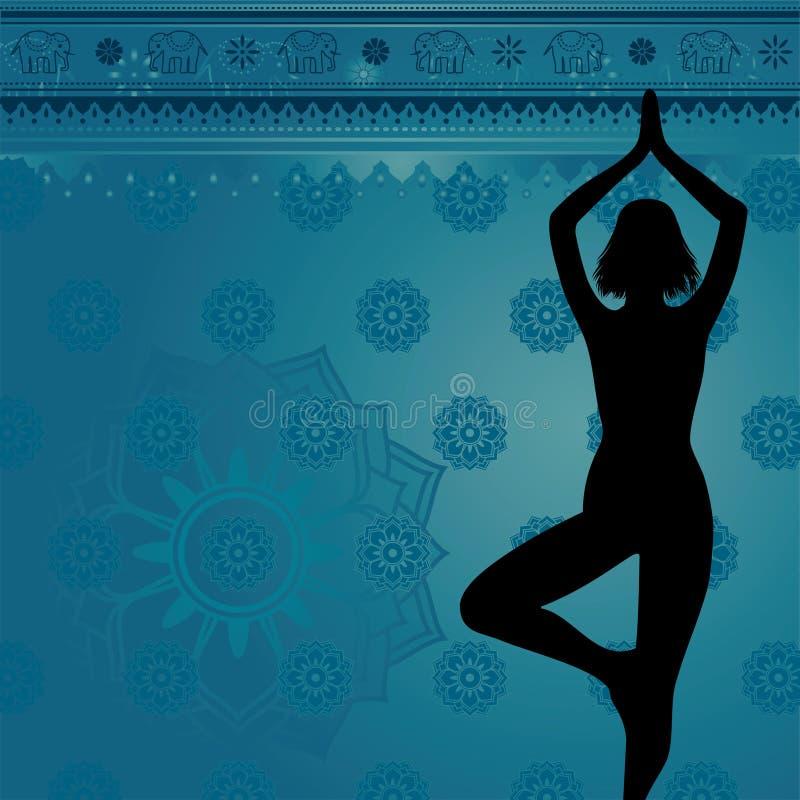 Blauer Yogahintergrund lizenzfreie abbildung