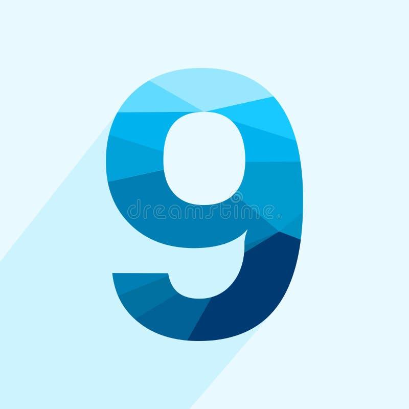 Blauer Zahlguß des Vektorpolygons neun mit langem Schatten vektor abbildung