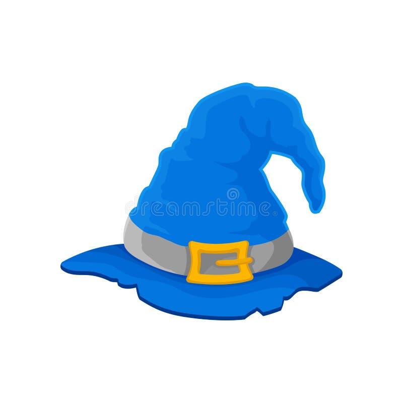 Blauer Zaubererhut mit heftigen Rändern Vektorabbildung auf wei?em Hintergrund stock abbildung