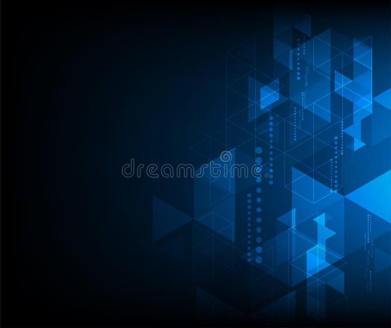 Blauer zukünftiger abstrakter Technologiehintergrund des Vektors, Verschlüsselung der digitalen Daten stock abbildung