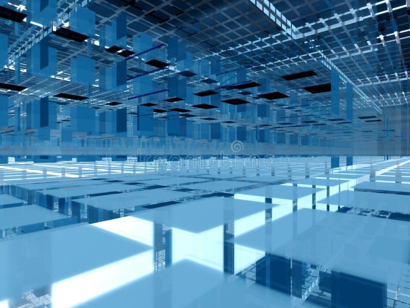 Blaues 3d bündelt Architektur stock abbildung