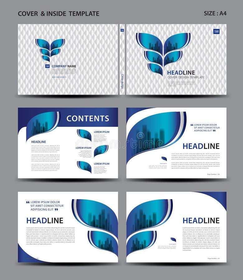 Blaues Abdeckungsdesign und Innereschablone für Zeitschrift, Anzeigen, Darstellung, Jahresbericht, Buch, Broschüre, Plakat, Katal vektor abbildung