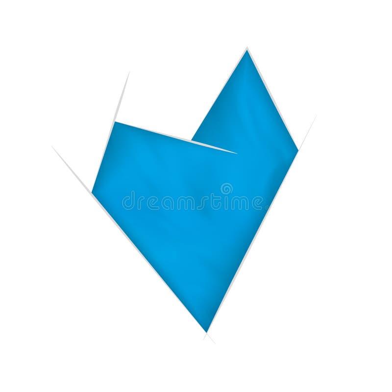 Blaues abstraktes Herz mit wellenartig bewegendem Effekt vektor abbildung