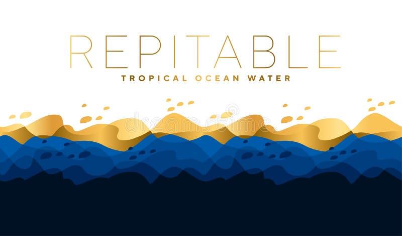 Blaues amd Meerwasser-Wellenluxusmuster Ozeanmotiv für Titel, stock abbildung