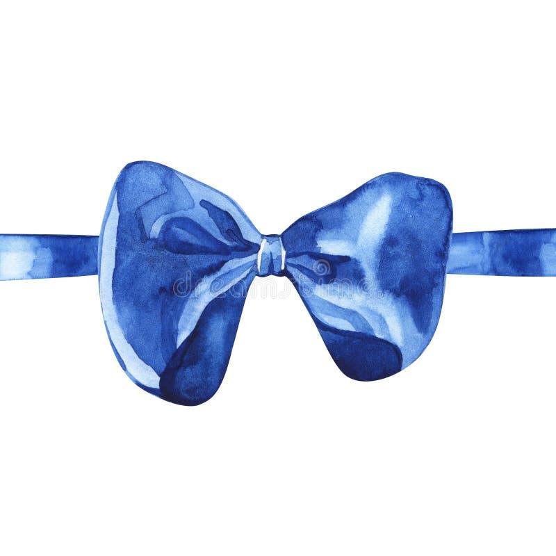 Blaues Aquarellbogen-Bandelement lokalisiert auf weißem Hintergrund lizenzfreies stockfoto