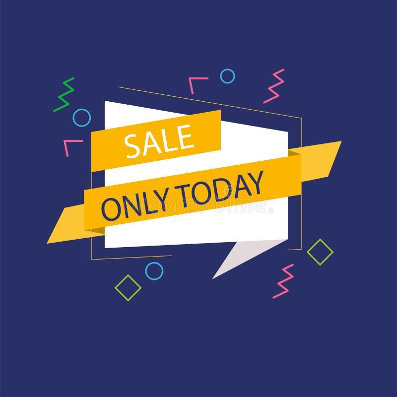 Blaues backgroun mit orange und weißem Band Verkaufsfahnen-Schablonendesign Sonderangebot des gro?en Verkaufs Sonderangebotfahne  stock abbildung