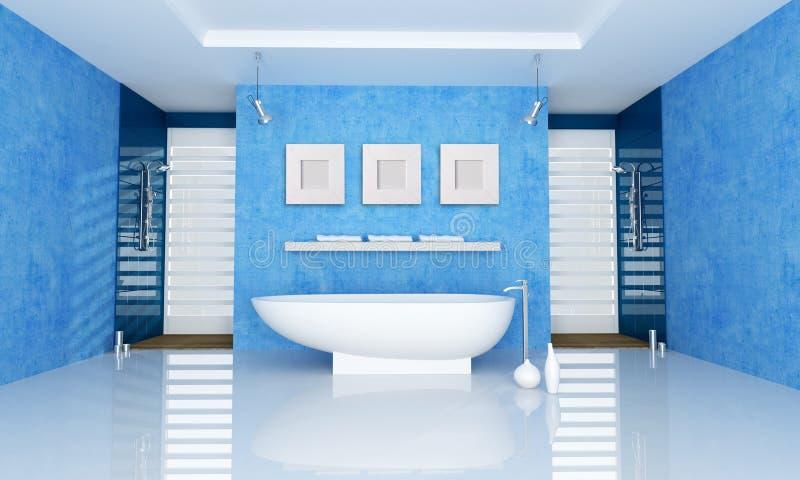 Blaues Badezimmer stock abbildung. Illustration von metall - 13302174