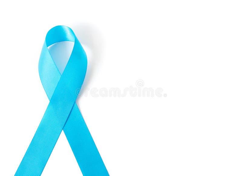Blaues Band auf weißem Hintergrundprostatakrebs-Bewusstsein concep stockbilder