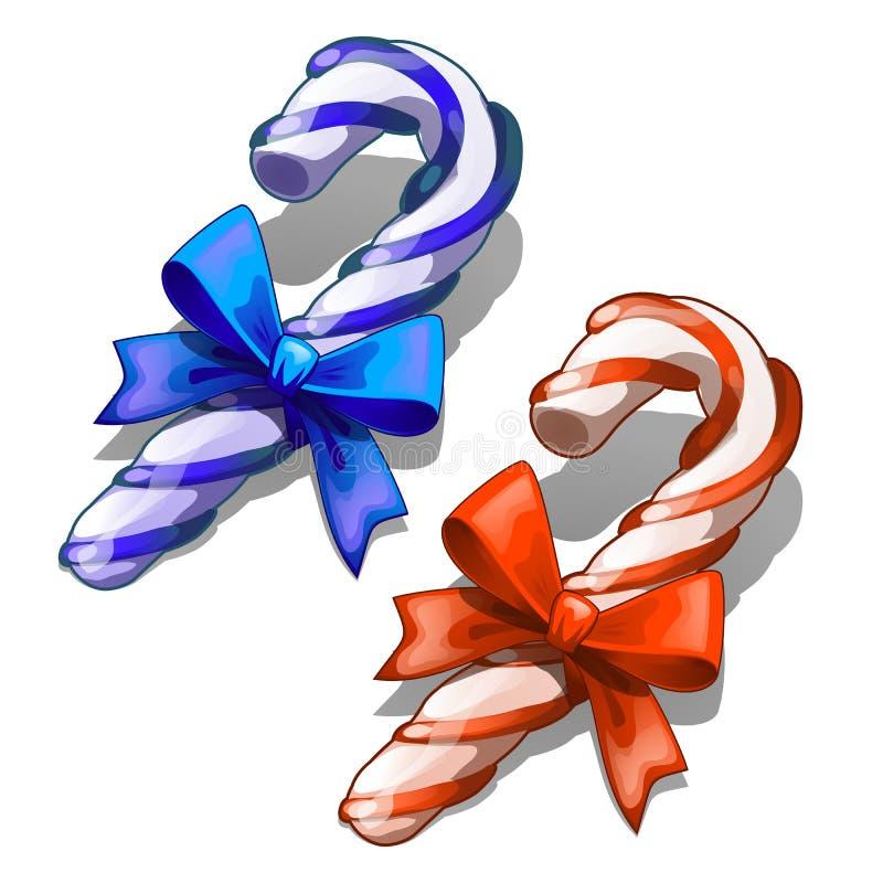 Blaues Band-Bogen Karikatur-Süßigkeits-Cane With Decorative Red Ands lokalisiert auf weißem Hintergrund Klassische Weihnachtsdeko vektor abbildung