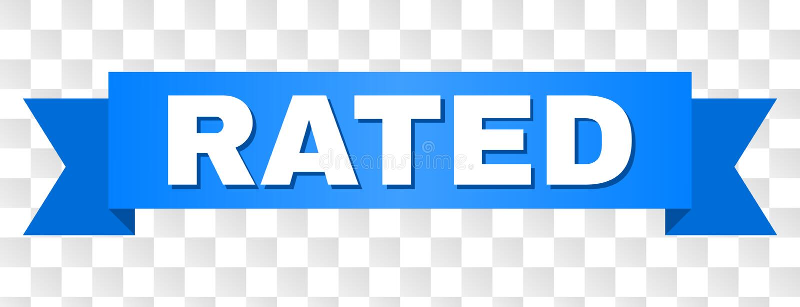 Blaues Band mit BEWERTETEM Text lizenzfreie abbildung