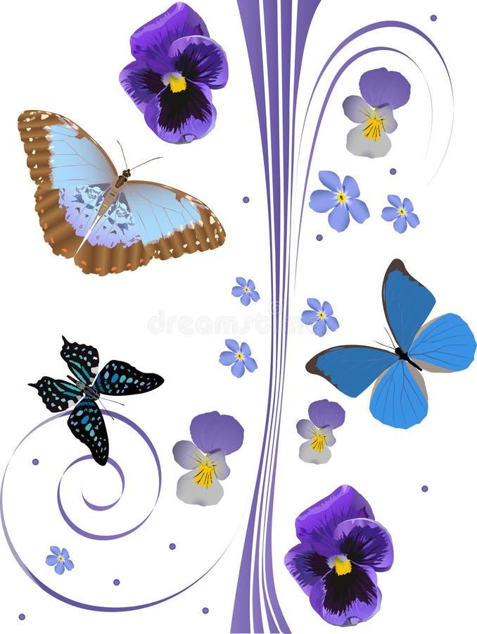 Blaues Blumen- und Baumbasisrecheneinheitsmuster vektor abbildung