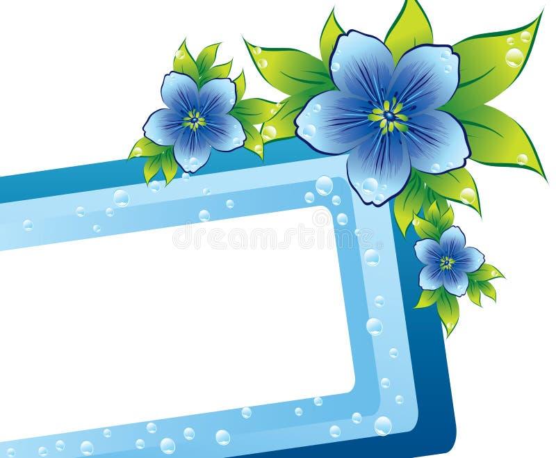 Blaues Blumenfeld mit Dew-drop lizenzfreie abbildung