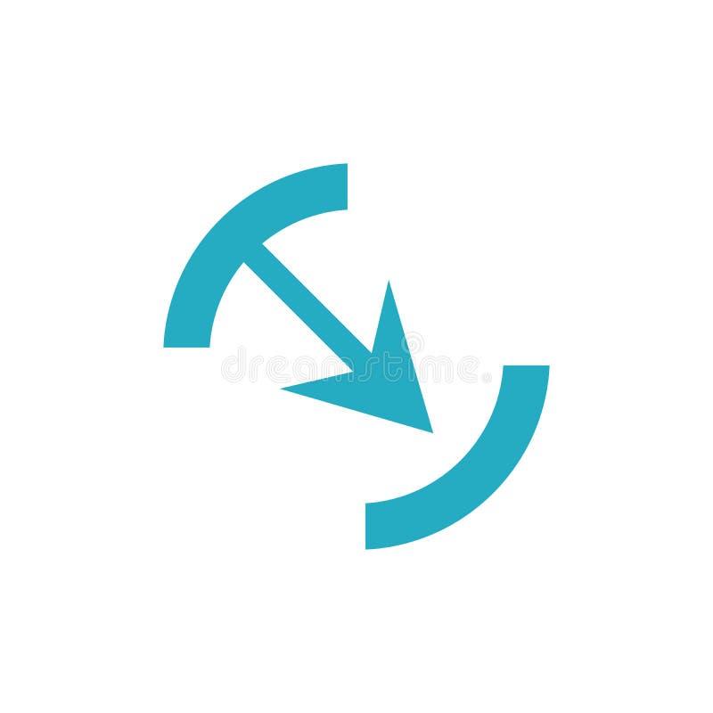 Blaues Bogensymbol im trendigen, flachen Stil, isoliert auf grauem Grund Pfeilsymbol für Ihre Website-Design, Logo, App, Benutzer lizenzfreie abbildung