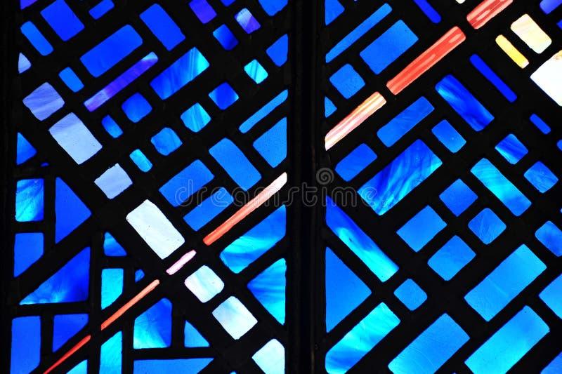 Blaues Buntglasfenster stockfotos