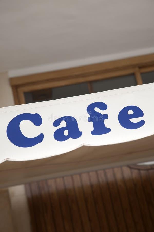 Blaues Café-Zeichen stockbild