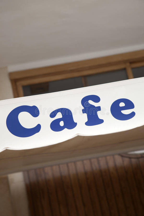 Blaues Café-Zeichen stockfotos