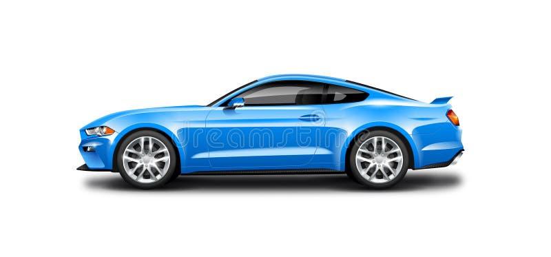 Blaues Coupé-sportliches Auto auf weißem Hintergrund Seitenansicht mit lokalisiertem Weg lizenzfreie abbildung