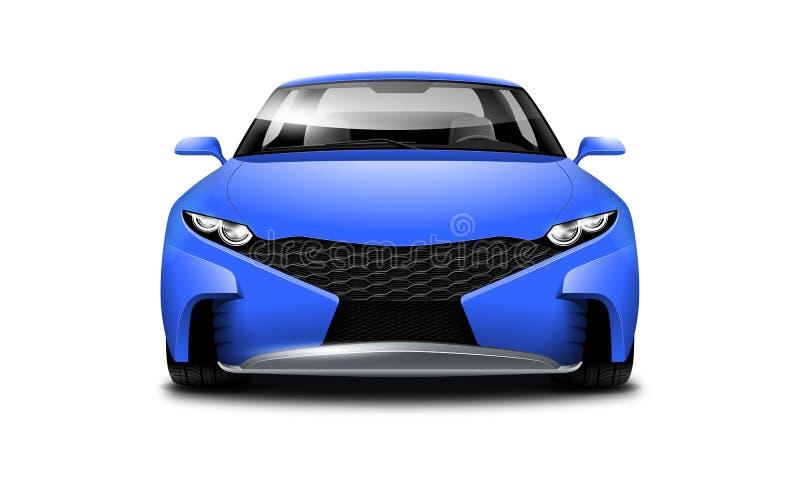 Blaues Coupé-sportliches Auto auf weißem Hintergrund Vorderansicht mit lokalisiertem Weg lizenzfreie abbildung