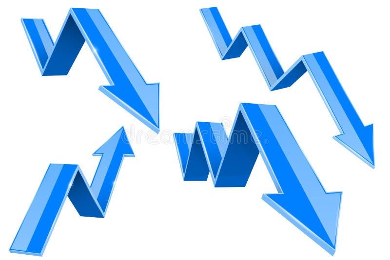 Blaues 3d auf und ab Pfeile 3d übertragen lizenzfreie abbildung