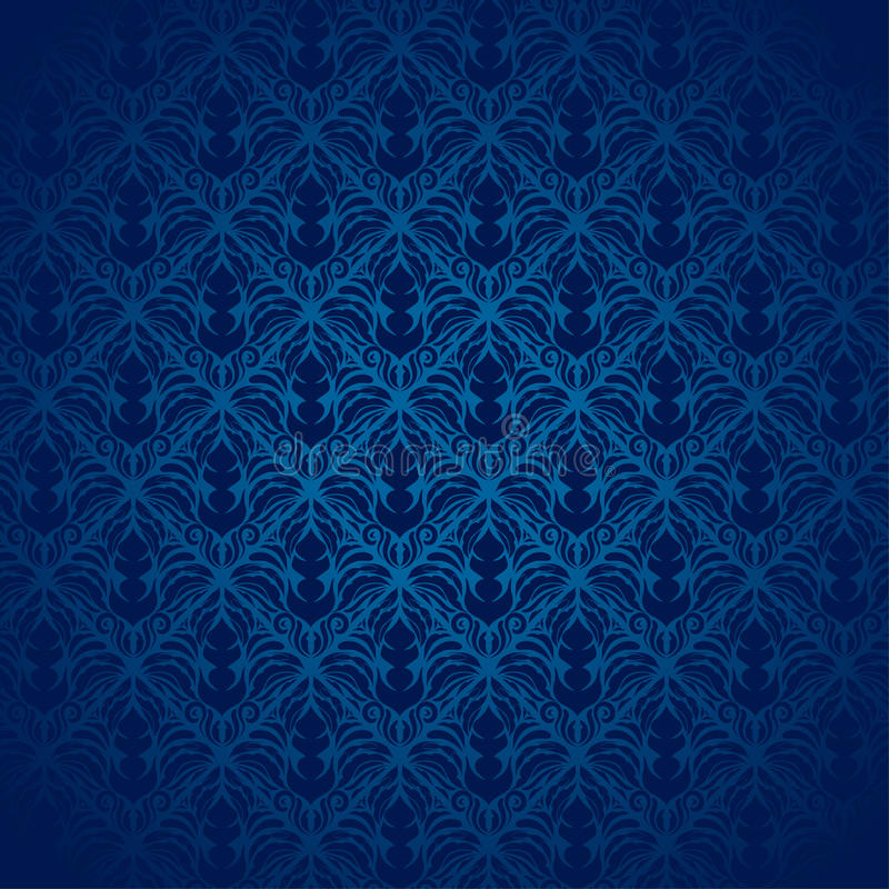 Blaues Damast-Muster lizenzfreie stockbilder