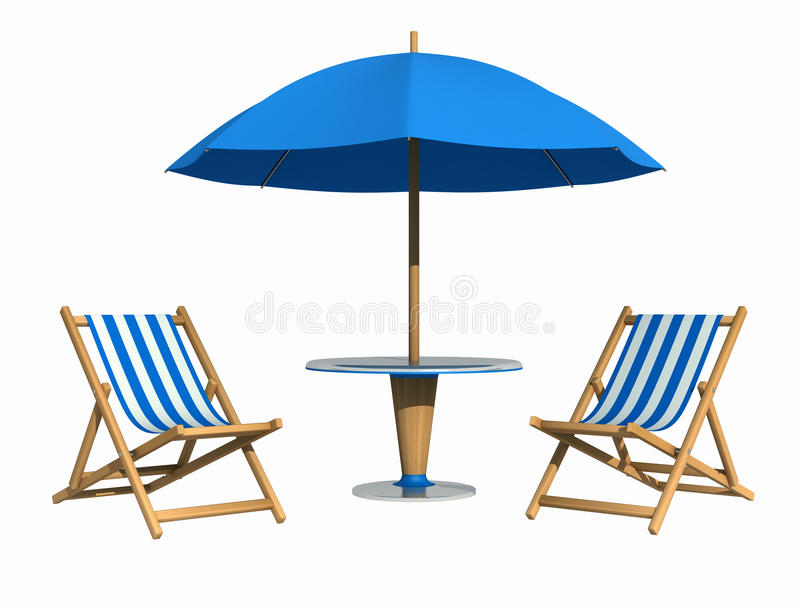 Blaues deckchair und Sonnenschirm lizenzfreie abbildung
