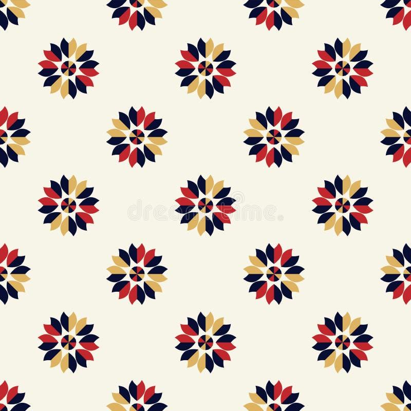 Blaues des hellen Hintergrundes geometrisches, rotes und nahtloses Sahnemuster der weißen Blume vektor abbildung