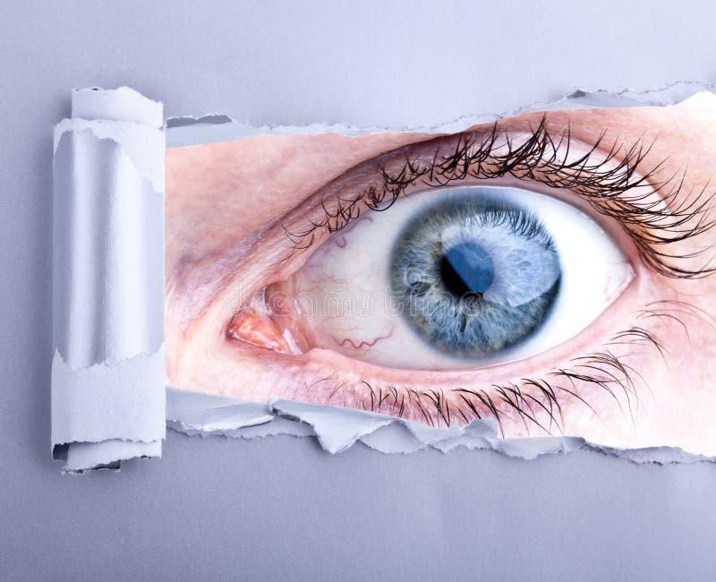 Blaues Detail des menschlichen Auges stockfotografie