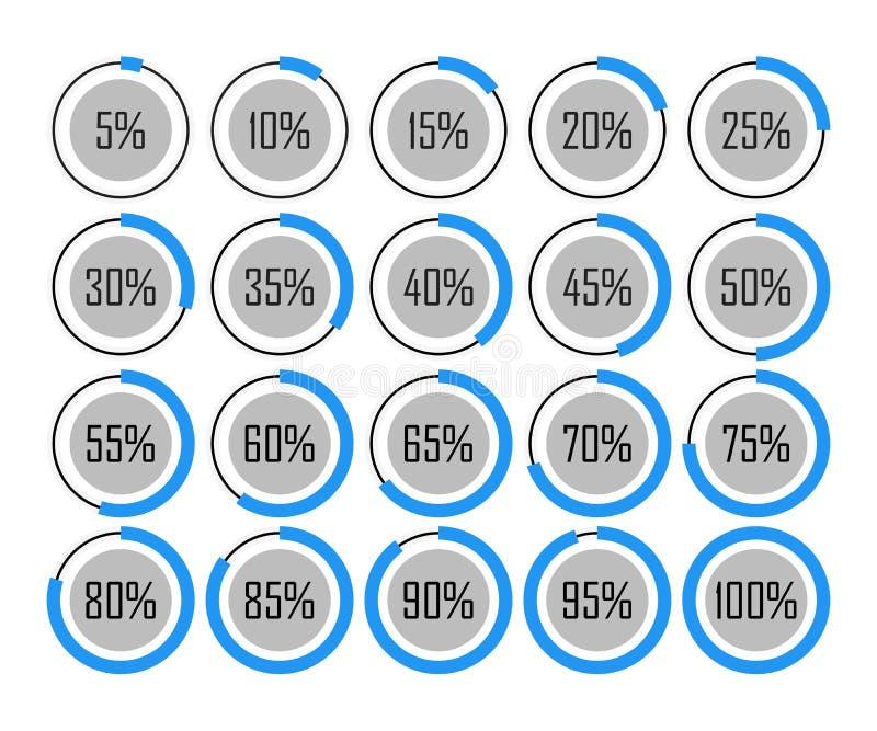 Blaues Diagramm 5 des Ikonenschablonentortendiagrammkreis-Prozentsatzes 10-15 20 25 30 35 40 45 50 55 60 65 70 75 80 85 90 95 100 vektor abbildung