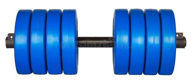 Blaues dumbells Gewicht lokalisiert auf Weiß lizenzfreies stockbild