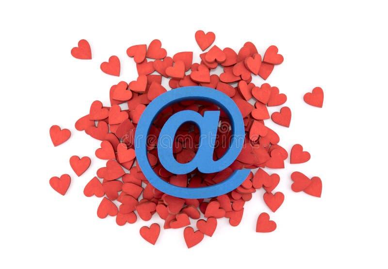 Blaues E-Mail-Symbol über vielen roten Herzen lizenzfreie stockfotos