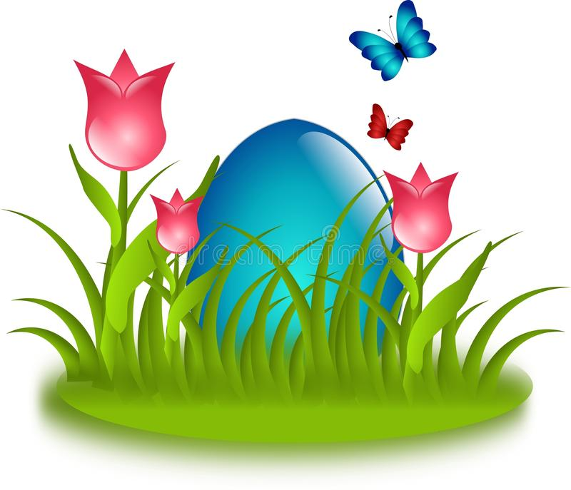 Blaues Ei im Gras mit Tulpen stock abbildung