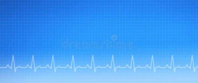 Blaues EKG medizinischer Diagramm-Hintergrund stockbilder