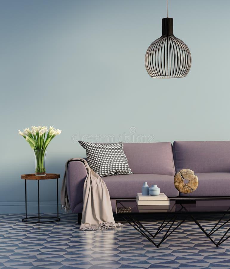 Blaues elegantes purpurrotes Sofa mit einer Seitentabelle und Blumen stockfotografie