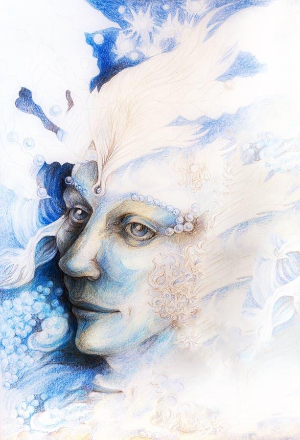 Blaues feenhaftes Manngesichtsporträt mit leichten abstrakten Strukturen vektor abbildung
