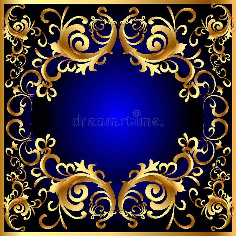 Blaues Feld der Weinlese mit Gemüsemuster des gold (en) lizenzfreies stockbild