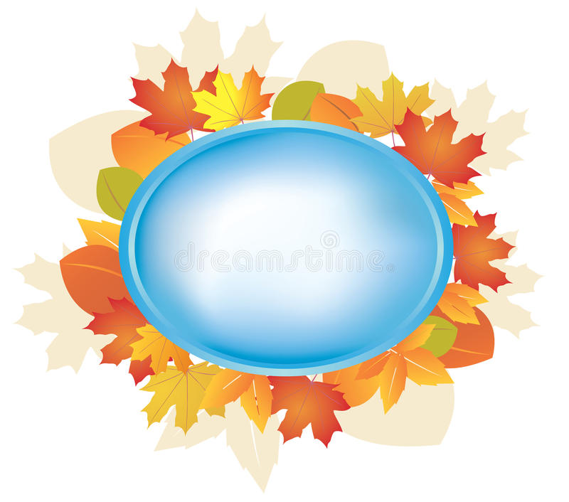 Blaues Feld mit Herbstblättern vektor abbildung