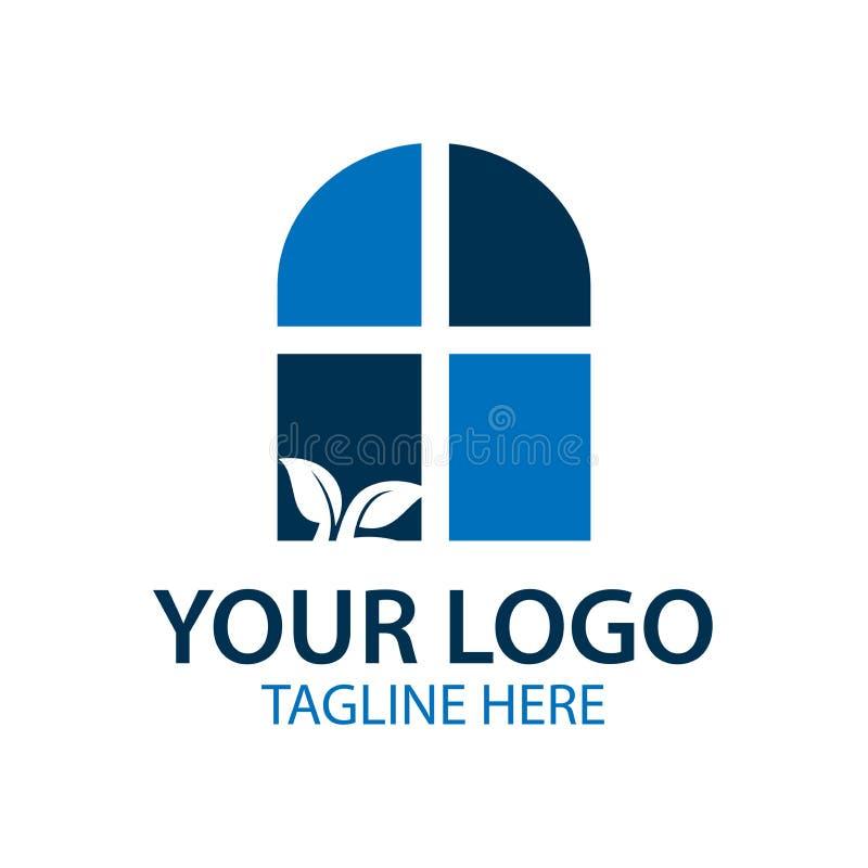 Blaues Fensterlogo, Vektorillustration lokalisiert auf weißem Hintergrund lizenzfreie abbildung