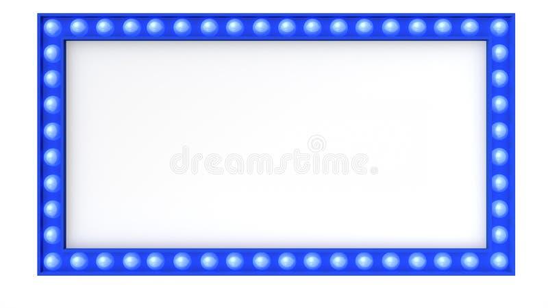 Blaues Festzeltlicht-Brettzeichen Retro- auf weißem Hintergrund Wiedergabe 3d stock abbildung