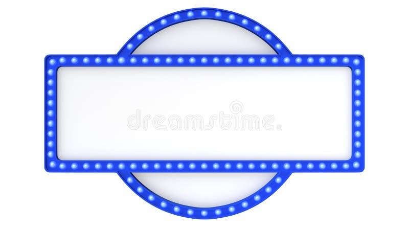 Blaues Festzeltlicht-Brettzeichen Retro- auf weißem Hintergrund Wiedergabe 3d lizenzfreie abbildung