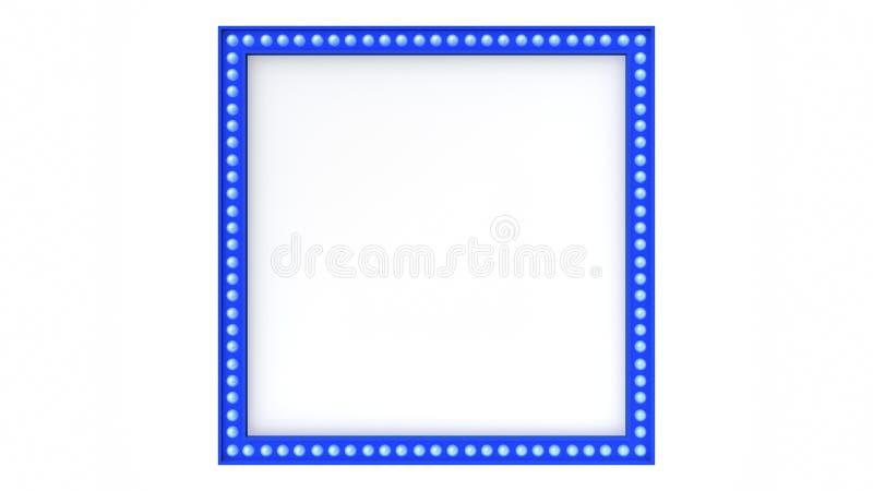 Blaues Festzeltlicht-Brettzeichen Retro- auf weißem Hintergrund Wiedergabe 3d vektor abbildung