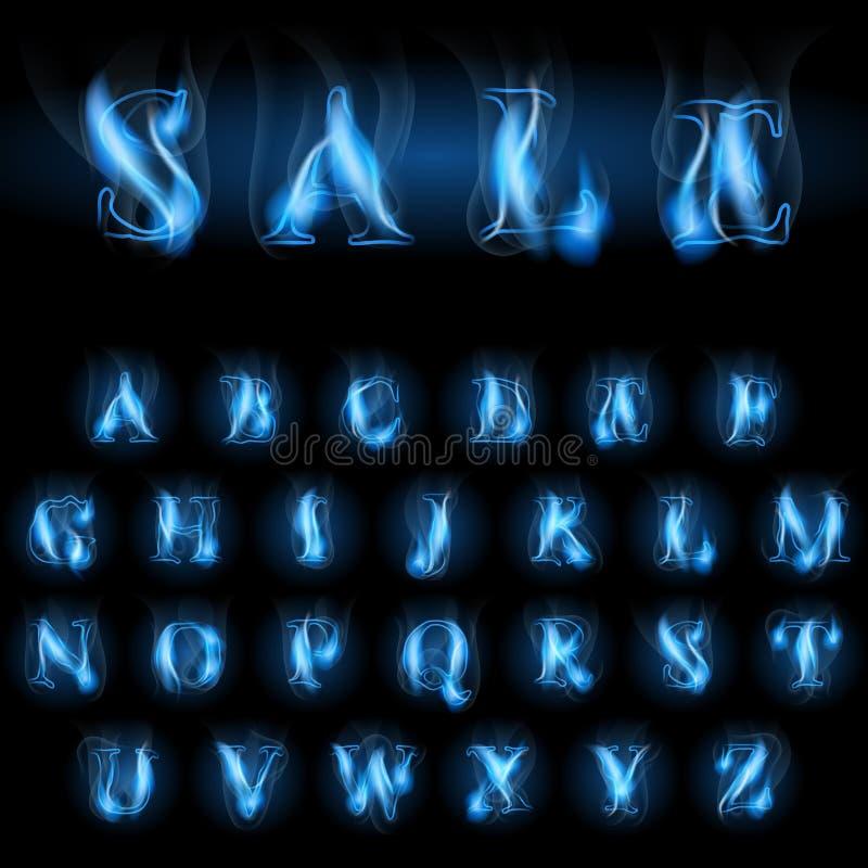 Blaues Feuer beschriftet Verkauf stock abbildung