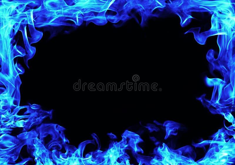 blaues Feuer flammt Rahmen lizenzfreies stockfoto