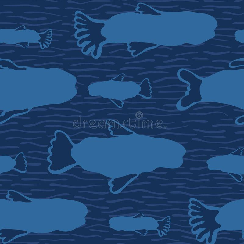 Blaues Fisch-Schattenbild, nahtlose Meerespflanzen-Tiervektor-Muster-Hintergrund stock abbildung