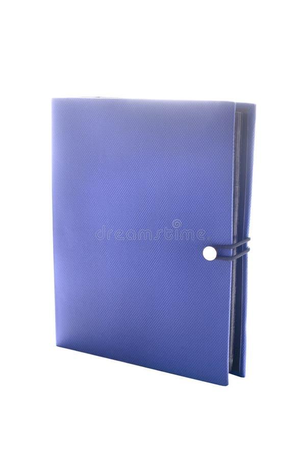Blaues Fotoalbum getrennt auf Weiß stockfoto