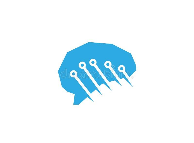 Blaues Gehirn der Technologie für Logoentwurfsillustration vektor abbildung
