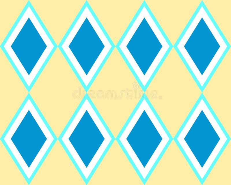 Blaues gelbes Quadrat deckt nahtloses Harlekinmuster mit Ziegeln stock abbildung